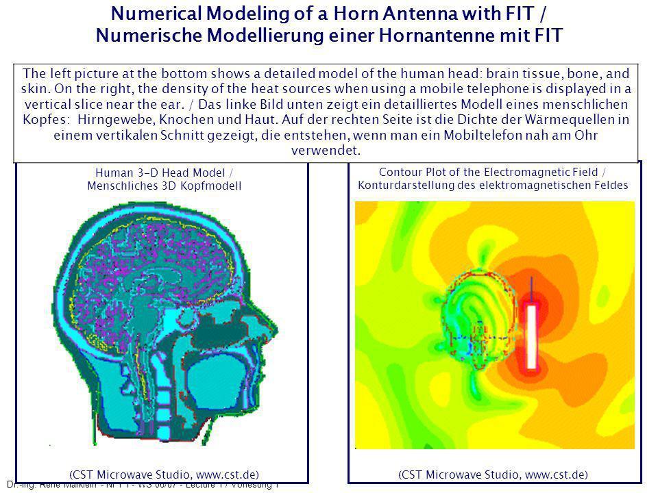 Dr.-Ing. René Marklein - NFT I - WS 06/07 - Lecture 1 / Vorlesung 1 Numerical Modeling of a Horn Antenna with FIT / Numerische Modellierung einer Horn