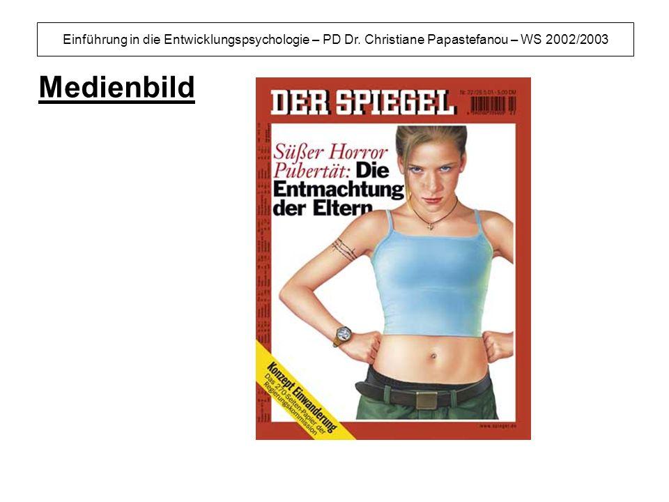 Einführung in die Entwicklungspsychologie – PD Dr. Christiane Papastefanou – WS 2002/2003 Medienbild