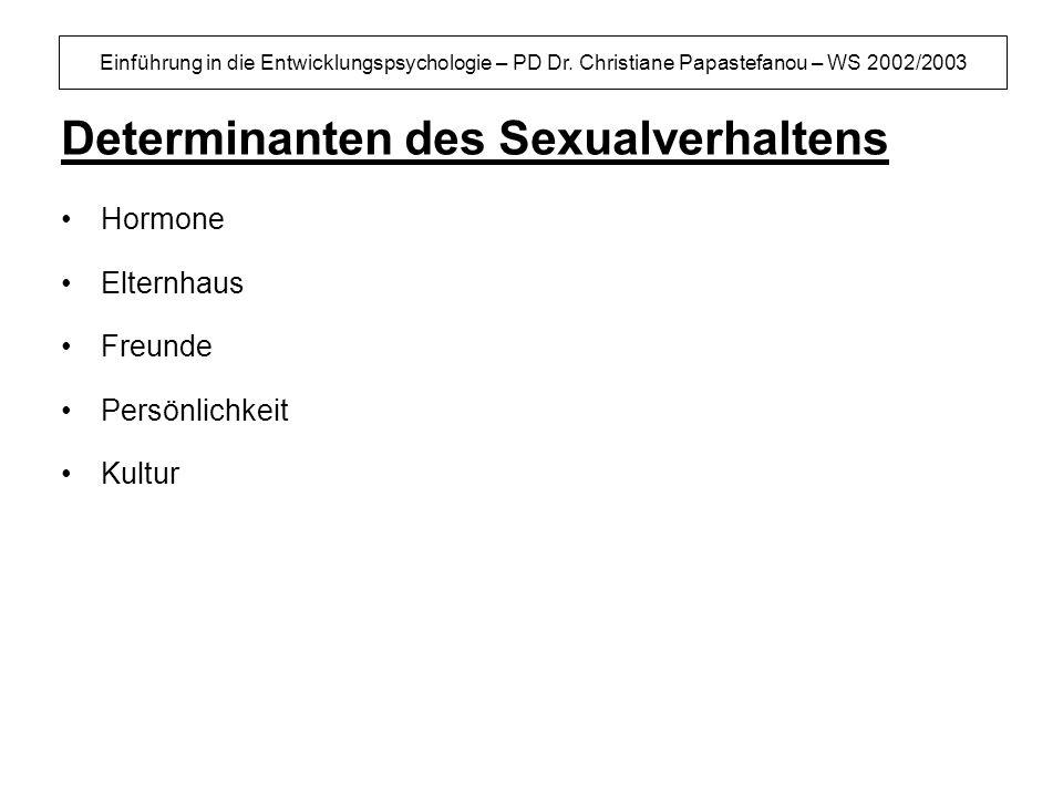 Einführung in die Entwicklungspsychologie – PD Dr. Christiane Papastefanou – WS 2002/2003 Determinanten des Sexualverhaltens Hormone Elternhaus Freund