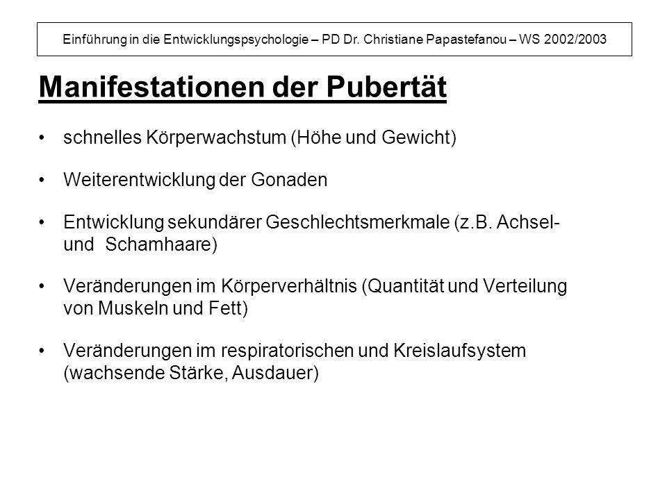 Einführung in die Entwicklungspsychologie – PD Dr. Christiane Papastefanou – WS 2002/2003 Manifestationen der Pubertät schnelles Körperwachstum (Höhe