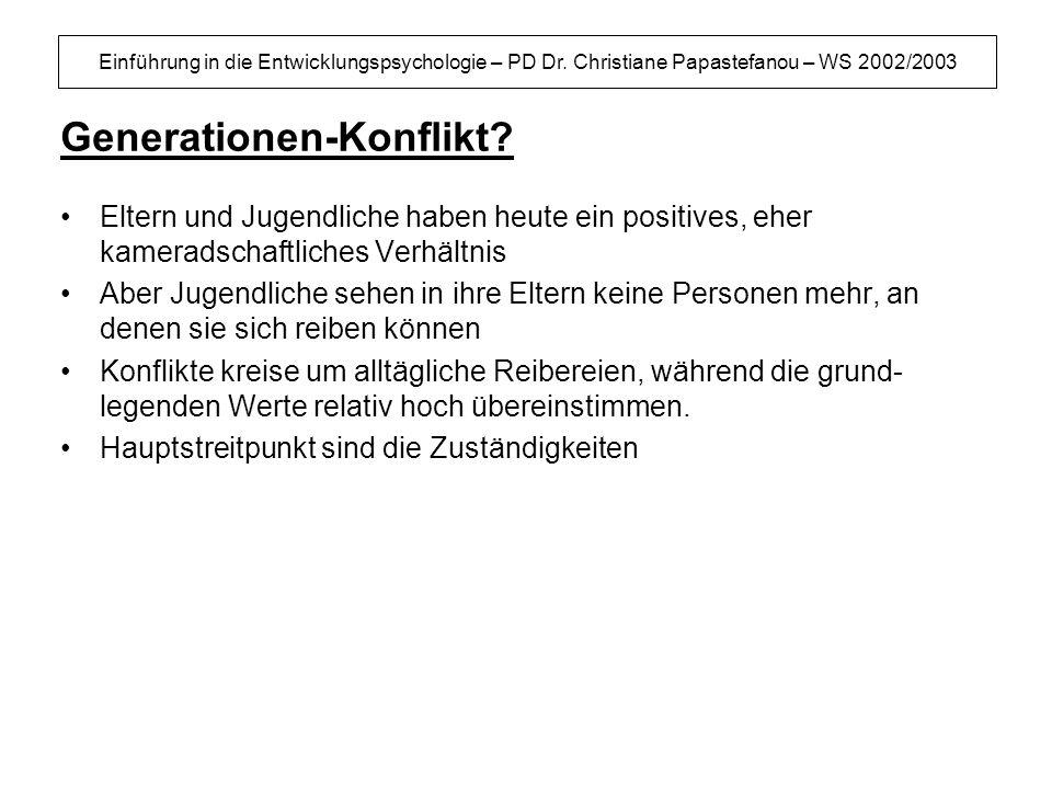 Einführung in die Entwicklungspsychologie – PD Dr. Christiane Papastefanou – WS 2002/2003 Generationen-Konflikt? Eltern und Jugendliche haben heute ei