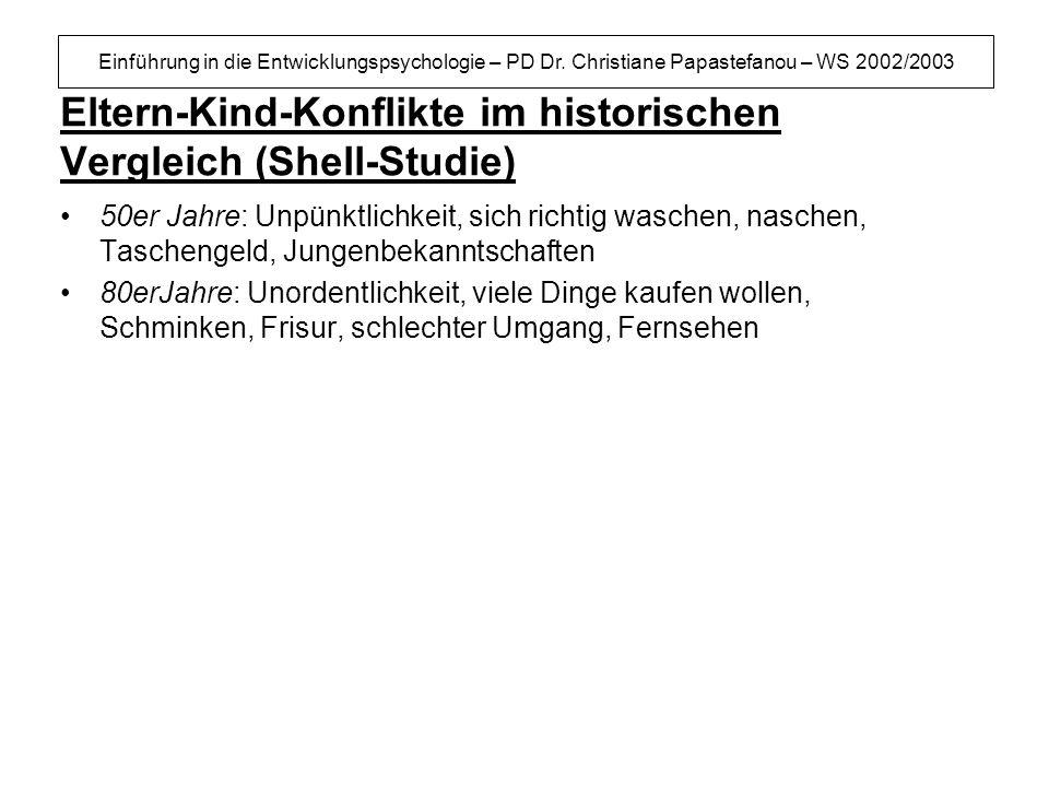 Einführung in die Entwicklungspsychologie – PD Dr. Christiane Papastefanou – WS 2002/2003 Eltern-Kind-Konflikte im historischen Vergleich (Shell-Studi