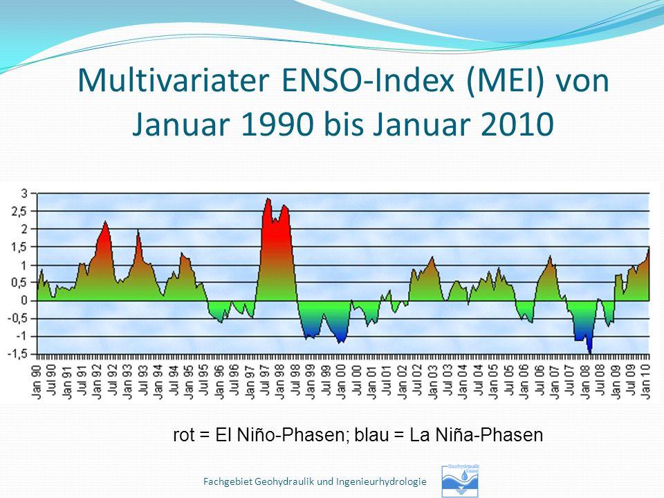 Multivariater ENSO-Index (MEI) von Januar 1990 bis Januar 2010 rot = El Niño-Phasen; blau = La Niña-Phasen Fachgebiet Geohydraulik und Ingenieurhydrol