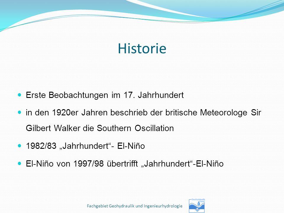 Historie Erste Beobachtungen im 17. Jahrhundert in den 1920er Jahren beschrieb der britische Meteorologe Sir Gilbert Walker die Southern Oscillation 1