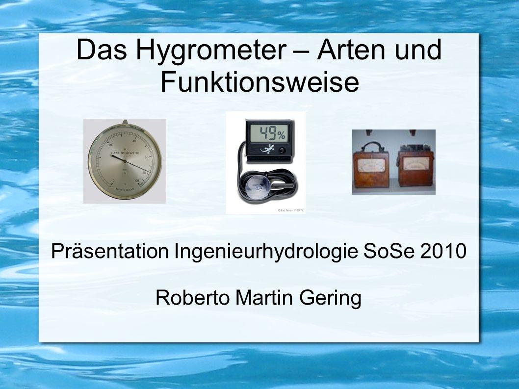 2.4 Weitere Verfahren Chemische Hygrometer Coulometrische Hygrometer Optische Hygrometer