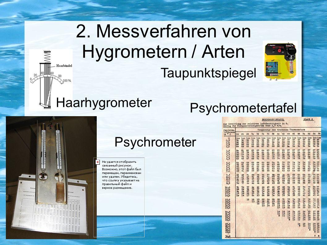 2.1 Absorptionshygrometer Enthalten hygroskopisches Material Eigenschaften ändern sich durch Feuchtigkeit Bekanntestes Absorptionshygrometer ist das Haarhxgrometer