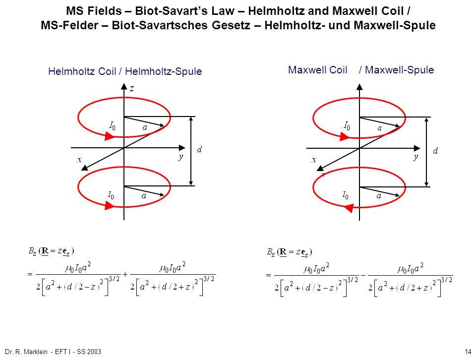 Dr. R. Marklein - EFT I - SS 200314 MS Fields – Biot-Savarts Law – Helmholtz and Maxwell Coil / MS-Felder – Biot-Savartsches Gesetz – Helmholtz- und M