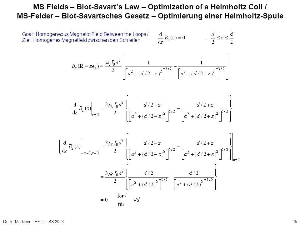 Dr. R. Marklein - EFT I - SS 200315 MS Fields – Biot-Savarts Law – Optimization of a Helmholtz Coil / MS-Felder – Biot-Savartsches Gesetz – Optimierun