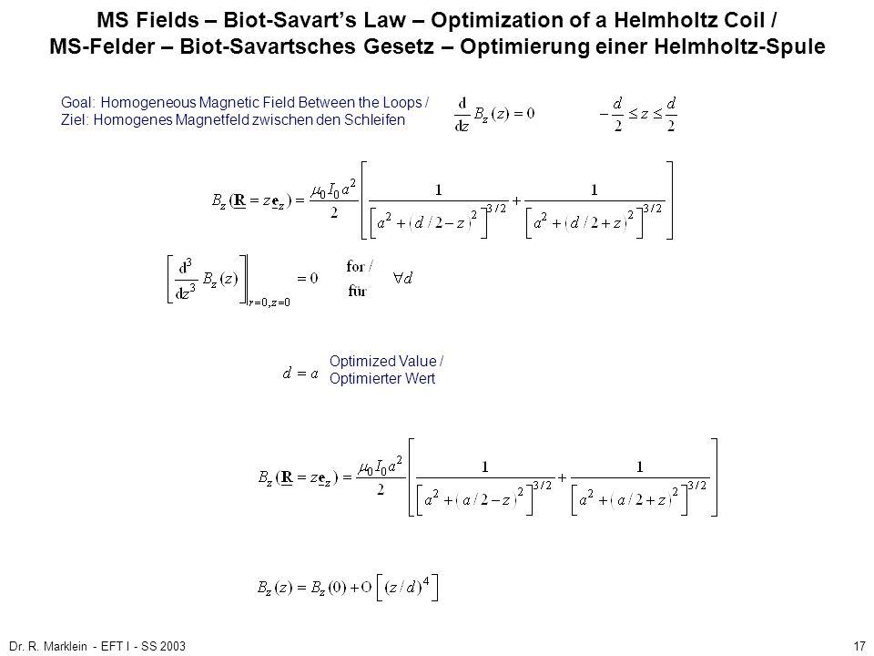 Dr. R. Marklein - EFT I - SS 200317 MS Fields – Biot-Savarts Law – Optimization of a Helmholtz Coil / MS-Felder – Biot-Savartsches Gesetz – Optimierun