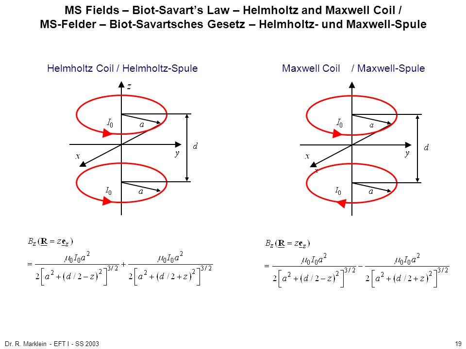 Dr. R. Marklein - EFT I - SS 200319 MS Fields – Biot-Savarts Law – Helmholtz and Maxwell Coil / MS-Felder – Biot-Savartsches Gesetz – Helmholtz- und M
