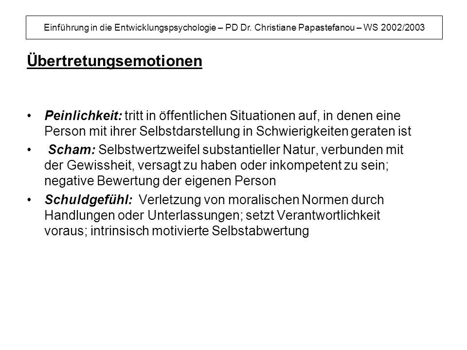 Einführung in die Entwicklungspsychologie – PD Dr. Christiane Papastefanou – WS 2002/2003 Übertretungsemotionen Peinlichkeit: tritt in öffentlichen Si