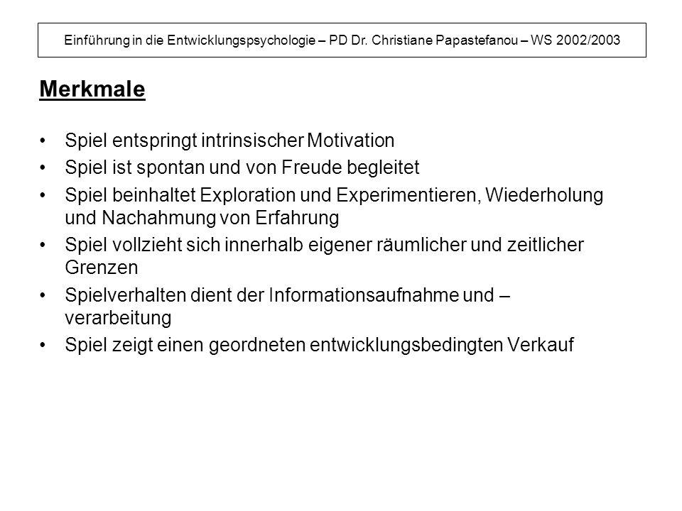 Einführung in die Entwicklungspsychologie – PD Dr. Christiane Papastefanou – WS 2002/2003 Merkmale Spiel entspringt intrinsischer Motivation Spiel ist