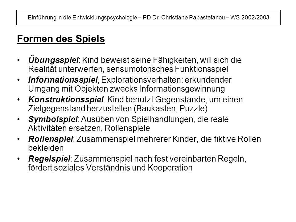Einführung in die Entwicklungspsychologie – PD Dr. Christiane Papastefanou – WS 2002/2003 Formen des Spiels Übungsspiel: Kind beweist seine Fähigkeite