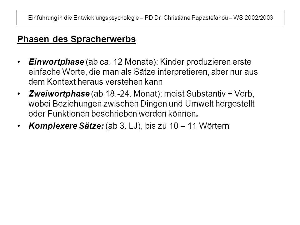 Einführung in die Entwicklungspsychologie – PD Dr. Christiane Papastefanou – WS 2002/2003 Phasen des Spracherwerbs Einwortphase (ab ca. 12 Monate): Ki