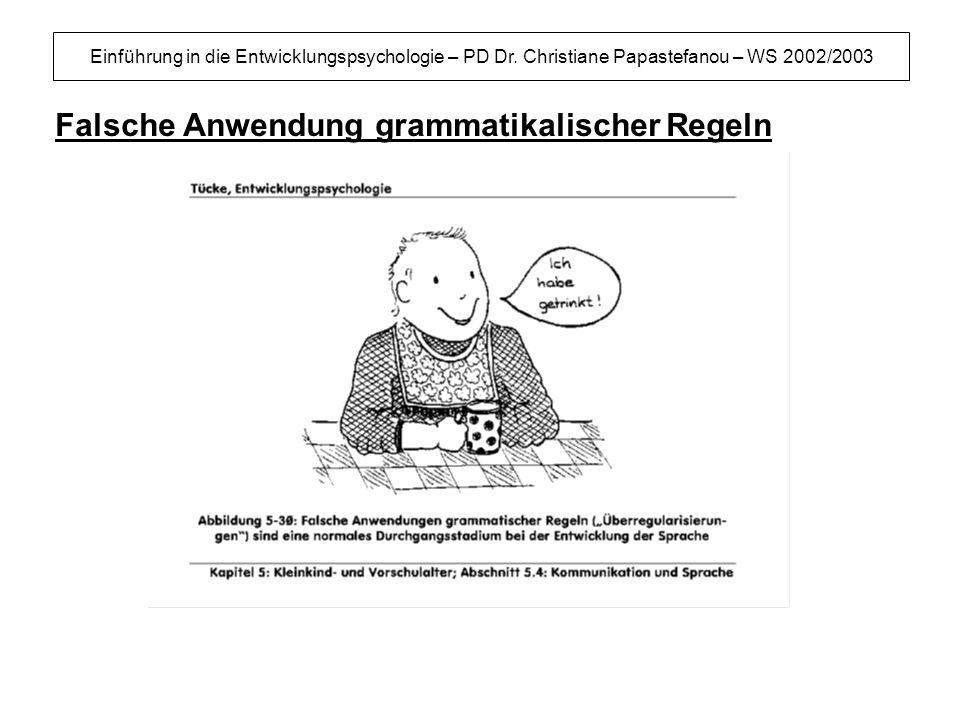 Einführung in die Entwicklungspsychologie – PD Dr. Christiane Papastefanou – WS 2002/2003 Falsche Anwendung grammatikalischer Regeln