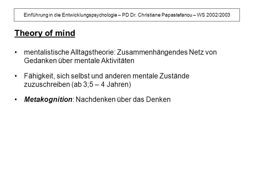 Einführung in die Entwicklungspsychologie – PD Dr. Christiane Papastefanou – WS 2002/2003 Theory of mind mentalistische Alltagstheorie: Zusammenhängen