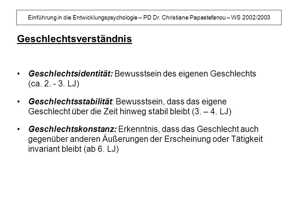 Einführung in die Entwicklungspsychologie – PD Dr. Christiane Papastefanou – WS 2002/2003 Geschlechtsverständnis Geschlechtsidentität: Bewusstsein des
