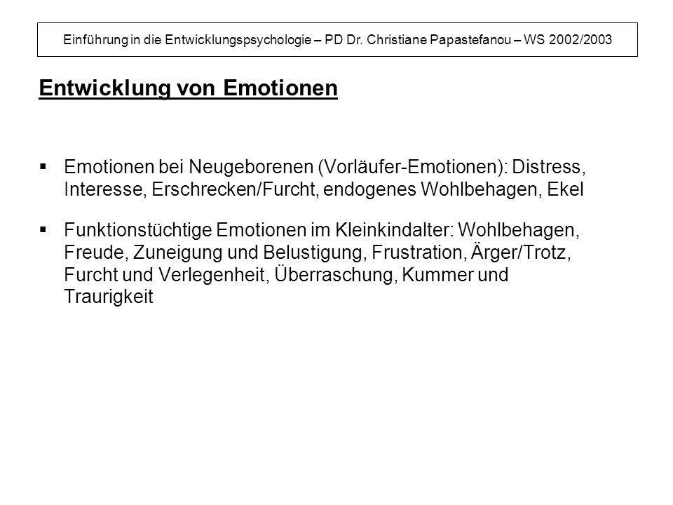 Einführung in die Entwicklungspsychologie – PD Dr. Christiane Papastefanou – WS 2002/2003 Entwicklung von Emotionen Emotionen bei Neugeborenen (Vorläu