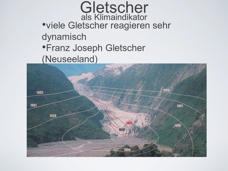 Gletscher als Klimaindikator viele Gletscher reagieren sehr dynamisch Franz Joseph Gletscher (Neuseeland)