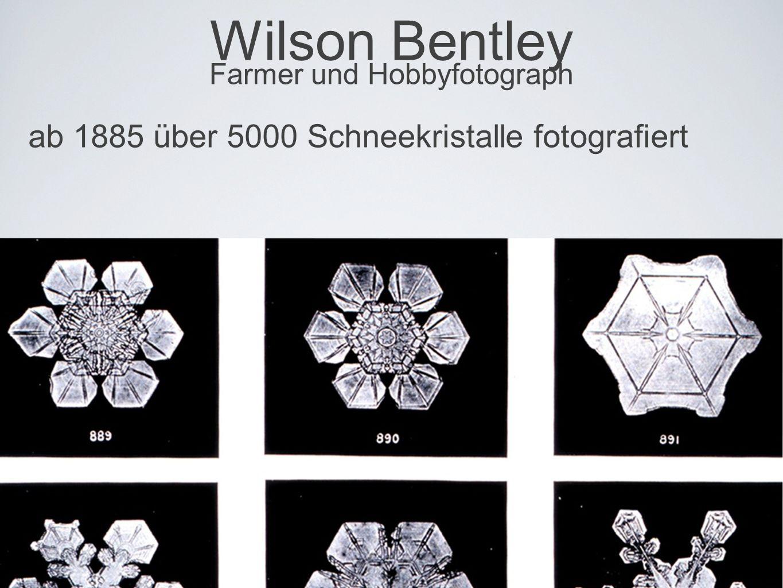 Wilson Bentley Farmer und Hobbyfotograph ab 1885 über 5000 Schneekristalle fotografiert
