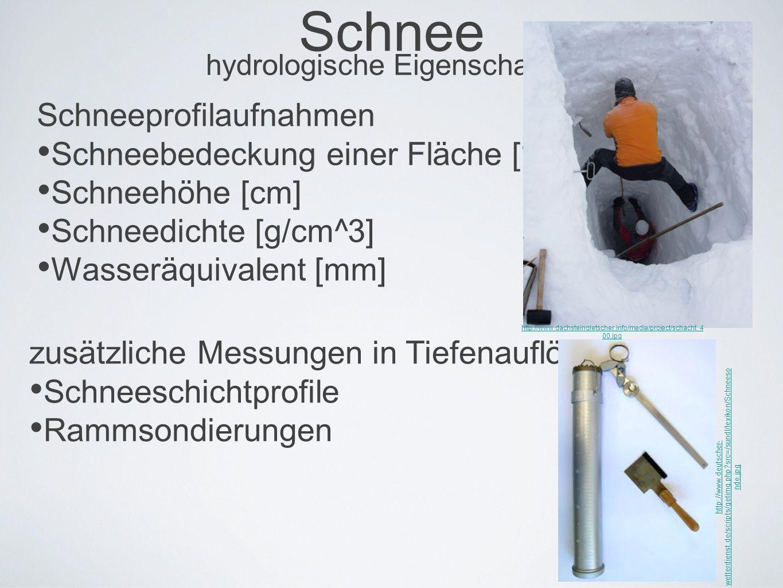 Schnee hydrologische Eigenschaften Schneeprofilaufnahmen Schneebedeckung einer Fläche [%] Schneehöhe [cm] Schneedichte [g/cm^3] Wasseräquivalent [mm] http://www.dachsteingletscher.info/media/project/schacht_4 00.jpg zusätzliche Messungen in Tiefenauflösung Schneeschichtprofile Rammsondierungen http://www.deutscher- wetterdienst.de/scripts/getimg.php src=/sundl/lexikon/Schneeso nde.jpg