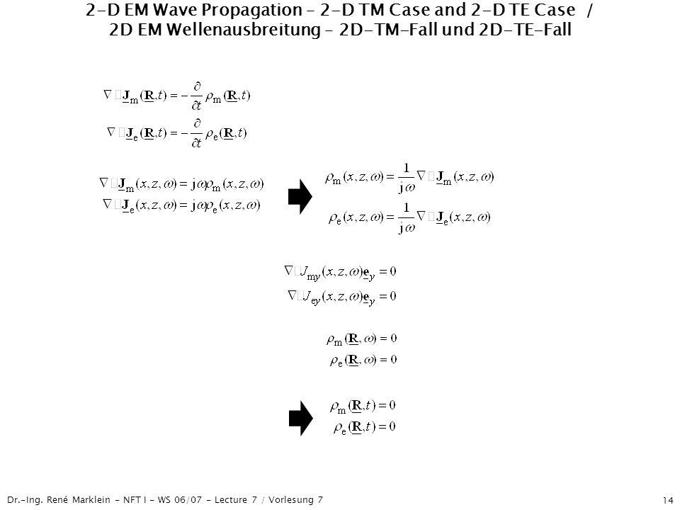 Dr.-Ing. René Marklein - NFT I - WS 06/07 - Lecture 7 / Vorlesung 7 14 2-D EM Wave Propagation – 2-D TM Case and 2-D TE Case / 2D EM Wellenausbreitung