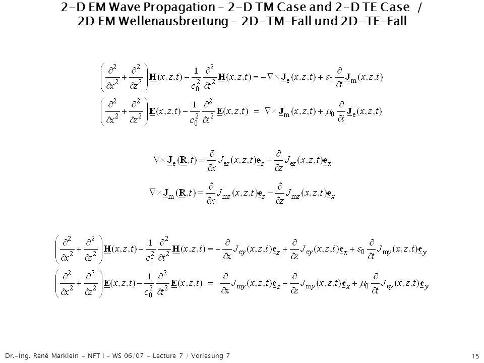 Dr.-Ing. René Marklein - NFT I - WS 06/07 - Lecture 7 / Vorlesung 7 15 2-D EM Wave Propagation – 2-D TM Case and 2-D TE Case / 2D EM Wellenausbreitung