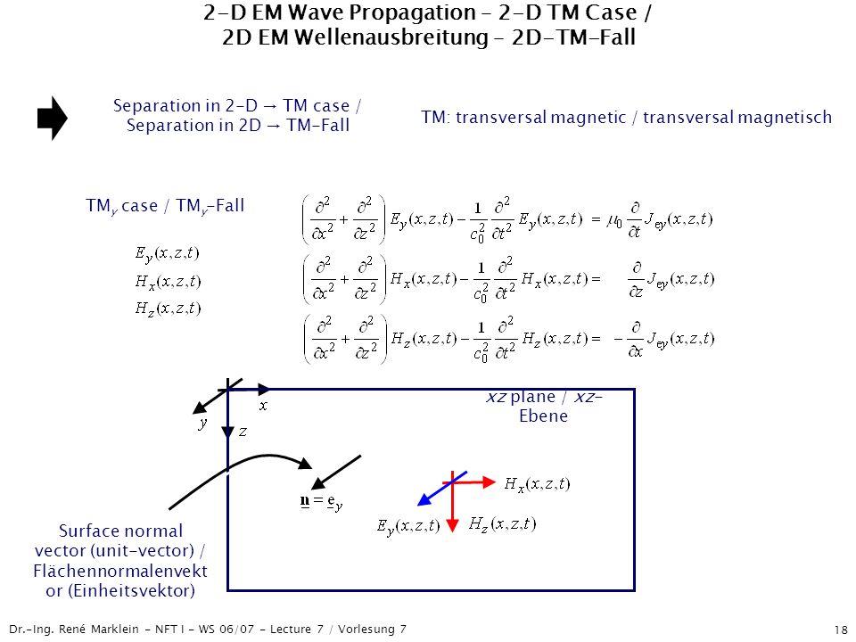 Dr.-Ing. René Marklein - NFT I - WS 06/07 - Lecture 7 / Vorlesung 7 18 2-D EM Wave Propagation – 2-D TM Case / 2D EM Wellenausbreitung – 2D-TM-Fall Se