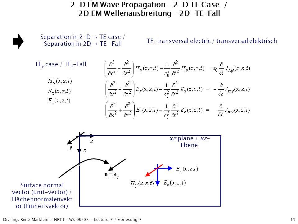 Dr.-Ing. René Marklein - NFT I - WS 06/07 - Lecture 7 / Vorlesung 7 19 2-D EM Wave Propagation – 2-D TE Case / 2D EM Wellenausbreitung – 2D-TE-Fall Se