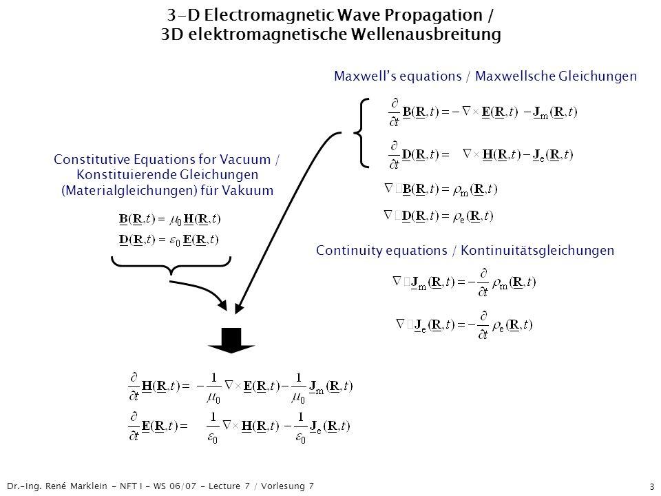 Dr.-Ing. René Marklein - NFT I - WS 06/07 - Lecture 7 / Vorlesung 7 3 3-D Electromagnetic Wave Propagation / 3D elektromagnetische Wellenausbreitung M
