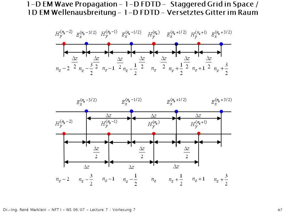 Dr.-Ing. René Marklein - NFT I - WS 06/07 - Lecture 7 / Vorlesung 7 47 1-D EM Wave Propagation – 1-D FDTD – Staggered Grid in Space / 1D EM Wellenausb