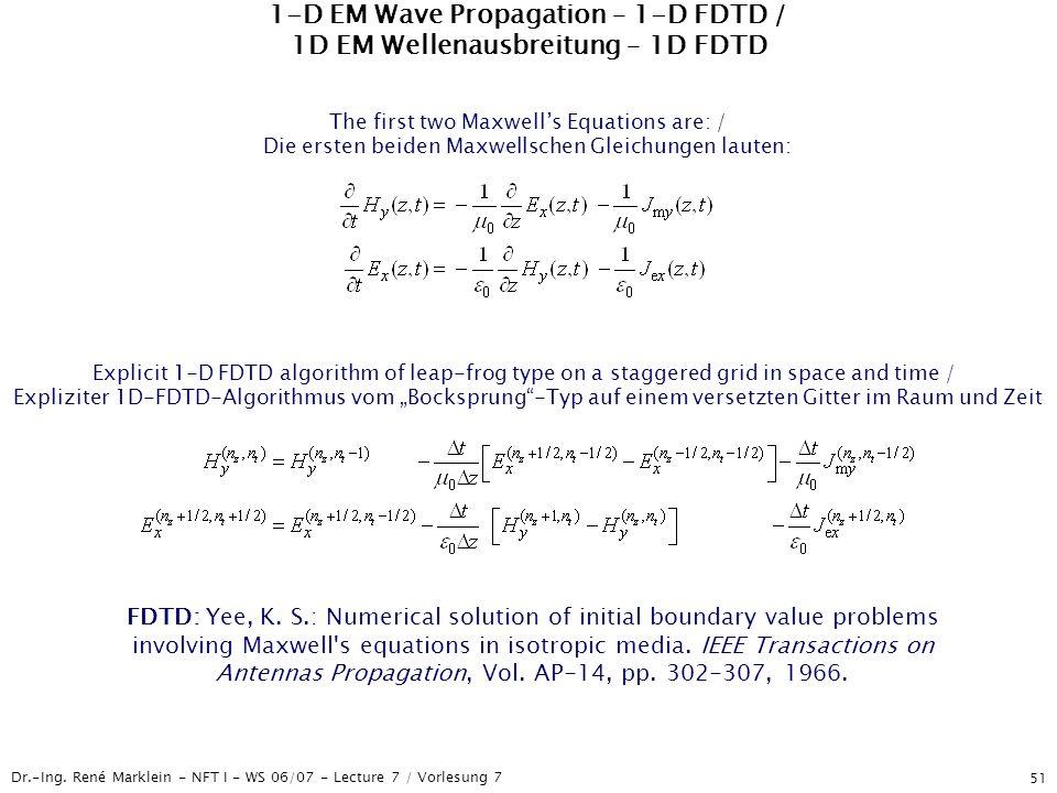 Dr.-Ing. René Marklein - NFT I - WS 06/07 - Lecture 7 / Vorlesung 7 51 1-D EM Wave Propagation – 1-D FDTD / 1D EM Wellenausbreitung – 1D FDTD Explicit