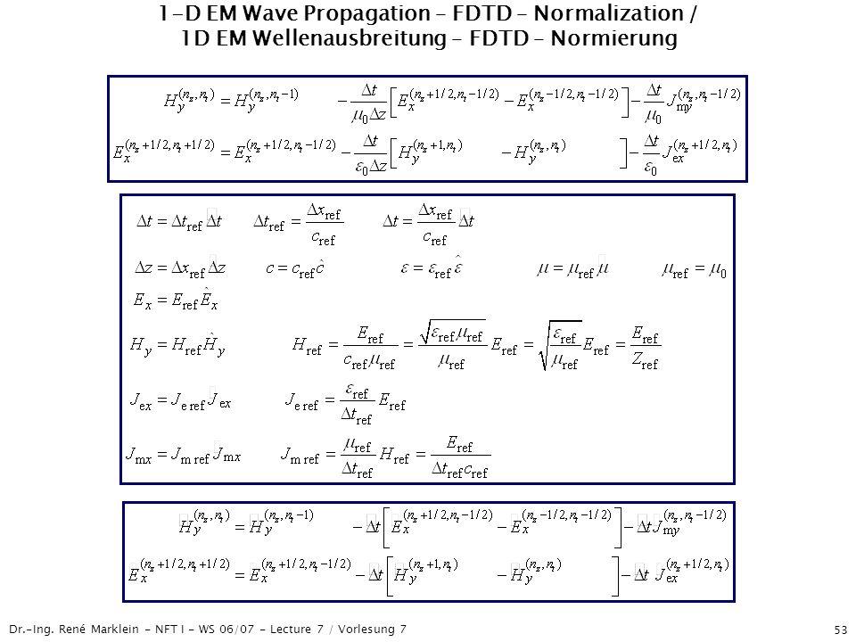 Dr.-Ing. René Marklein - NFT I - WS 06/07 - Lecture 7 / Vorlesung 7 53 1-D EM Wave Propagation – FDTD – Normalization / 1D EM Wellenausbreitung – FDTD