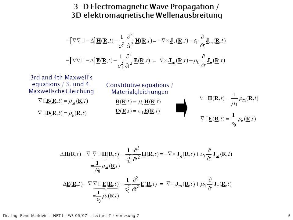 Dr.-Ing. René Marklein - NFT I - WS 06/07 - Lecture 7 / Vorlesung 7 6 3-D Electromagnetic Wave Propagation / 3D elektromagnetische Wellenausbreitung 3