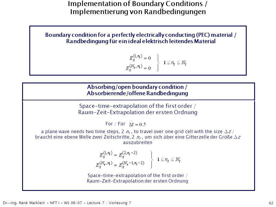Dr.-Ing. René Marklein - NFT I - WS 06/07 - Lecture 7 / Vorlesung 7 62 Implementation of Boundary Conditions / Implementierung von Randbedingungen Bou