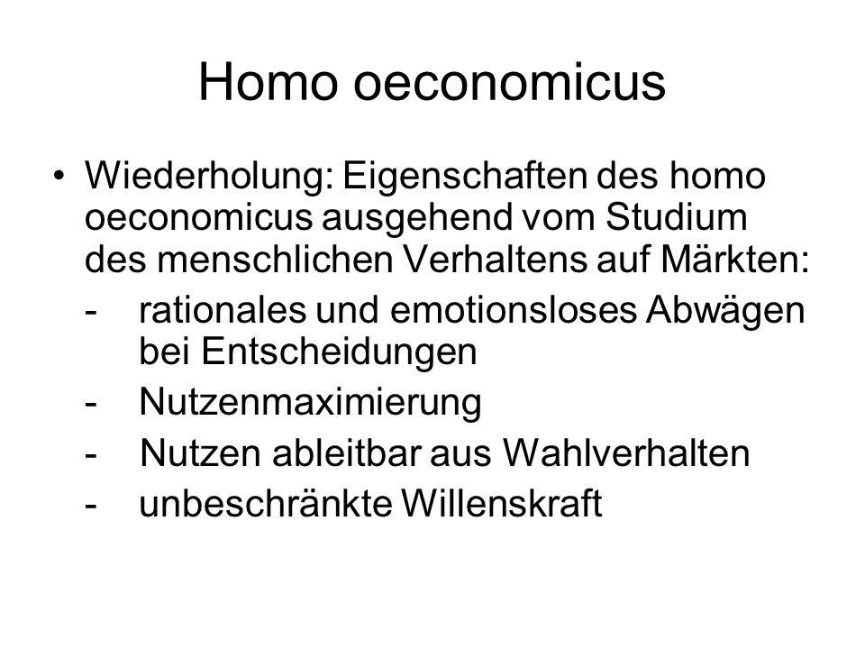 Homo oeconomicus Wiederholung: Eigenschaften des homo oeconomicus ausgehend vom Studium des menschlichen Verhaltens auf Märkten: -rationales und emoti