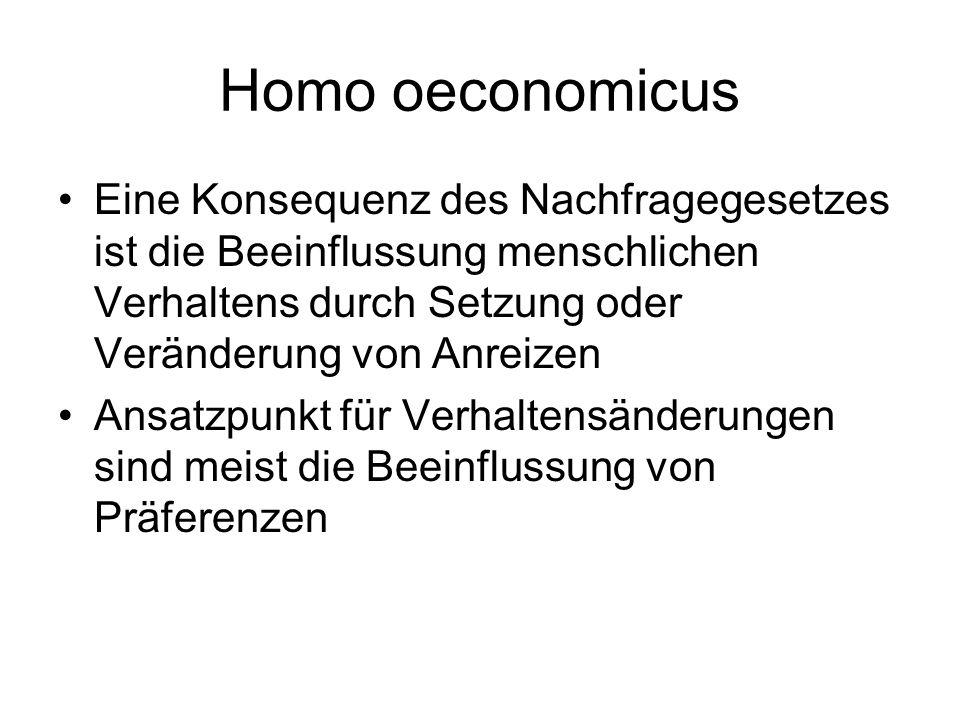 Homo oeconomicus Eine Konsequenz des Nachfragegesetzes ist die Beeinflussung menschlichen Verhaltens durch Setzung oder Veränderung von Anreizen Ansat