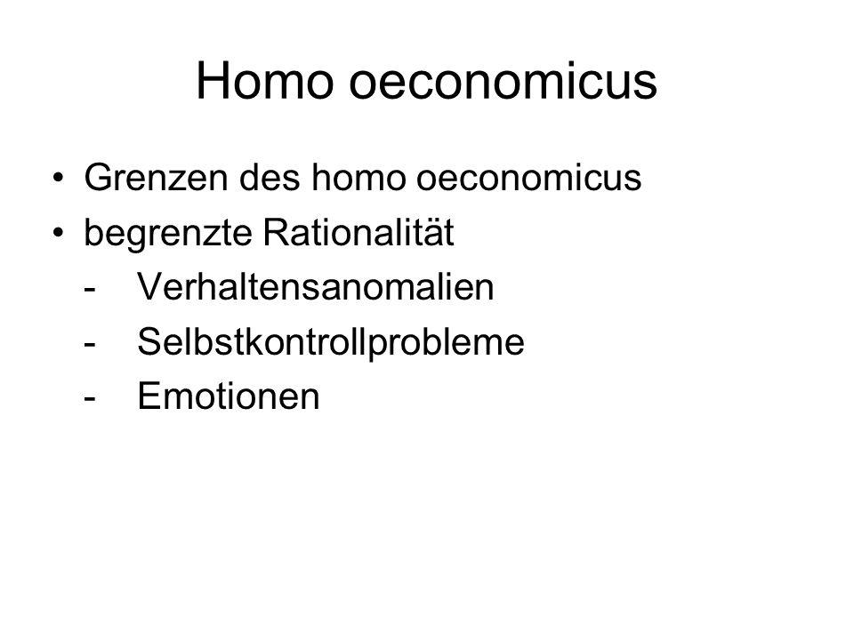 Homo oeconomicus Grenzen des homo oeconomicus begrenzte Rationalität -Verhaltensanomalien -Selbstkontrollprobleme -Emotionen