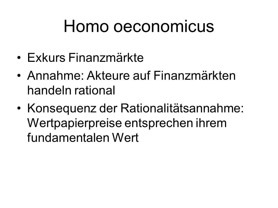 Homo oeconomicus Exkurs Finanzmärkte Annahme: Akteure auf Finanzmärkten handeln rational Konsequenz der Rationalitätsannahme: Wertpapierpreise entspre