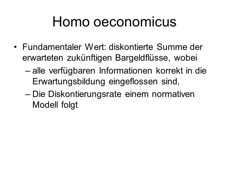 Homo oeconomicus Fundamentaler Wert: diskontierte Summe der erwarteten zukünftigen Bargeldflüsse, wobei –alle verfügbaren Informationen korrekt in die