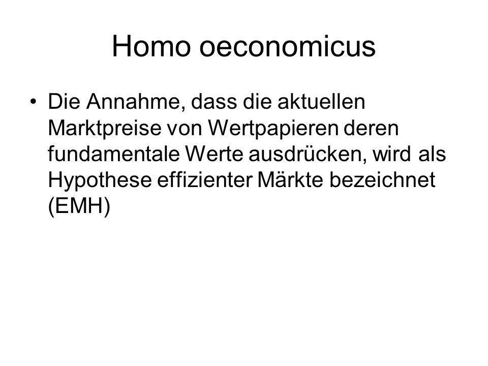 Homo oeconomicus Die Annahme, dass die aktuellen Marktpreise von Wertpapieren deren fundamentale Werte ausdrücken, wird als Hypothese effizienter Märk