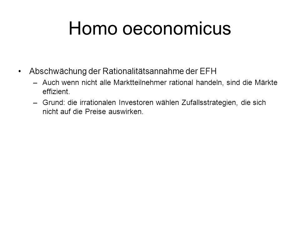 Homo oeconomicus Abschwächung der Rationalitätsannahme der EFH –Auch wenn nicht alle Marktteilnehmer rational handeln, sind die Märkte effizient. –Gru