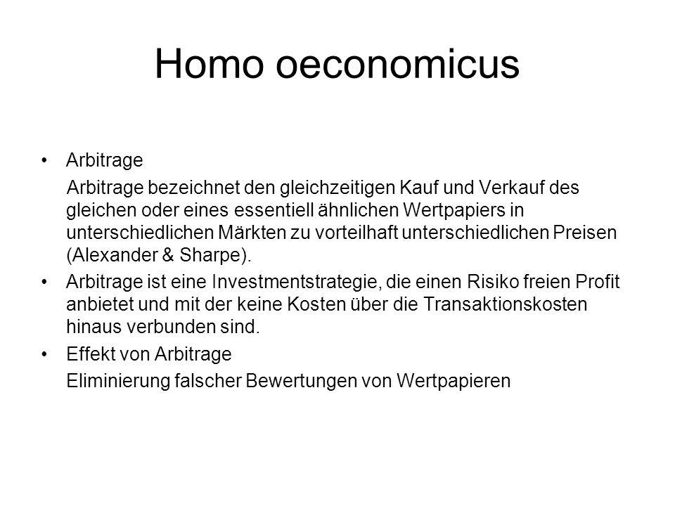 Homo oeconomicus Arbitrage Arbitrage bezeichnet den gleichzeitigen Kauf und Verkauf des gleichen oder eines essentiell ähnlichen Wertpapiers in unters