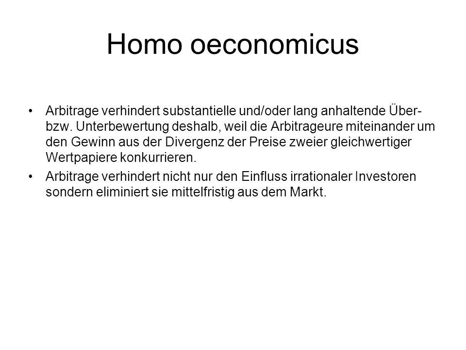Homo oeconomicus Arbitrage verhindert substantielle und/oder lang anhaltende Über- bzw. Unterbewertung deshalb, weil die Arbitrageure miteinander um d