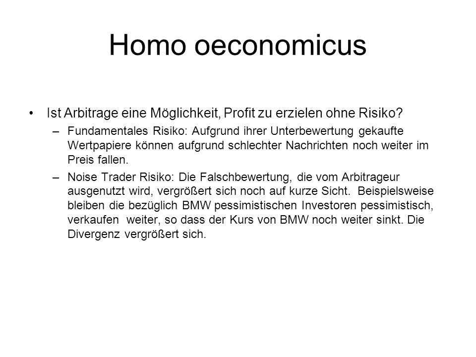 Homo oeconomicus Ist Arbitrage eine Möglichkeit, Profit zu erzielen ohne Risiko? –Fundamentales Risiko: Aufgrund ihrer Unterbewertung gekaufte Wertpap
