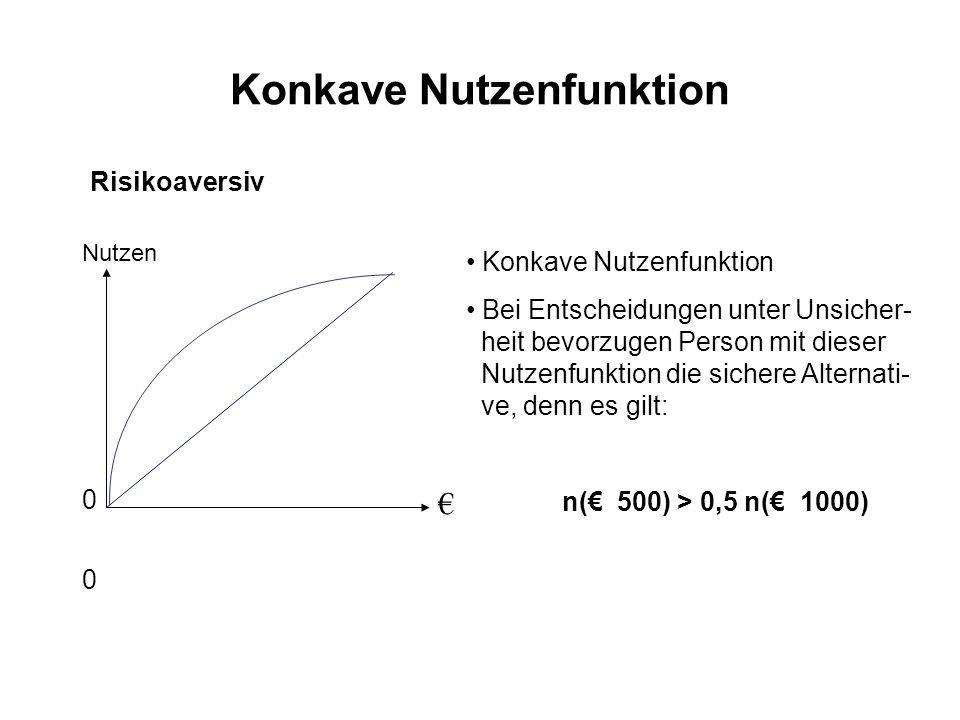 Konkave Nutzenfunktion Risikoaversiv 0 00 0 Nutzen Konkave Nutzenfunktion Bei Entscheidungen unter Unsicher- heit bevorzugen Person mit dieser Nutzenf