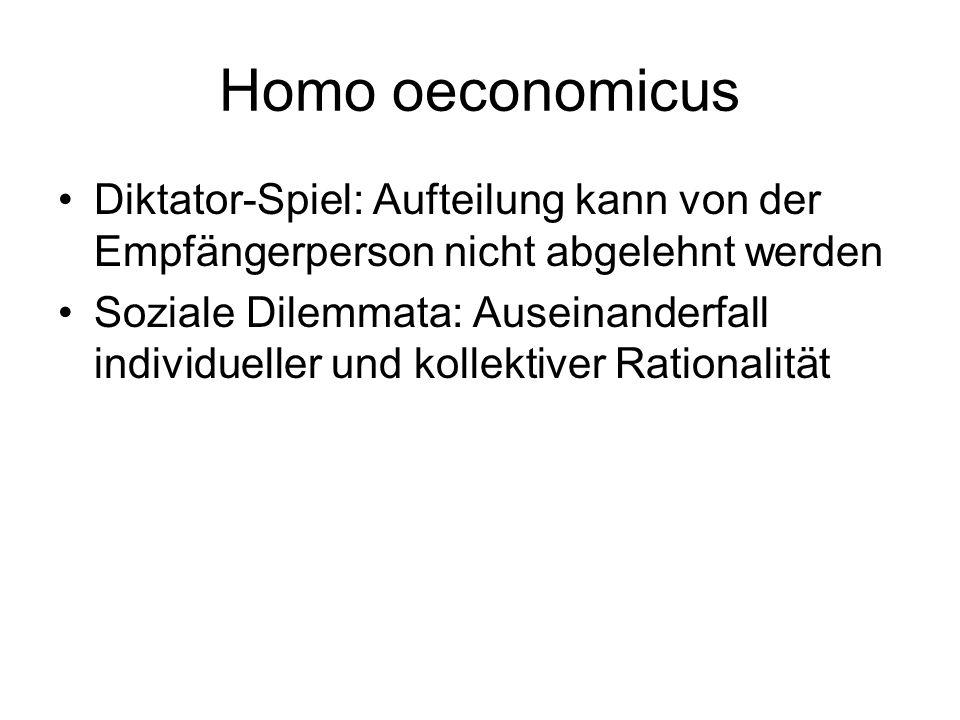 Homo oeconomicus Diktator-Spiel: Aufteilung kann von der Empfängerperson nicht abgelehnt werden Soziale Dilemmata: Auseinanderfall individueller und k