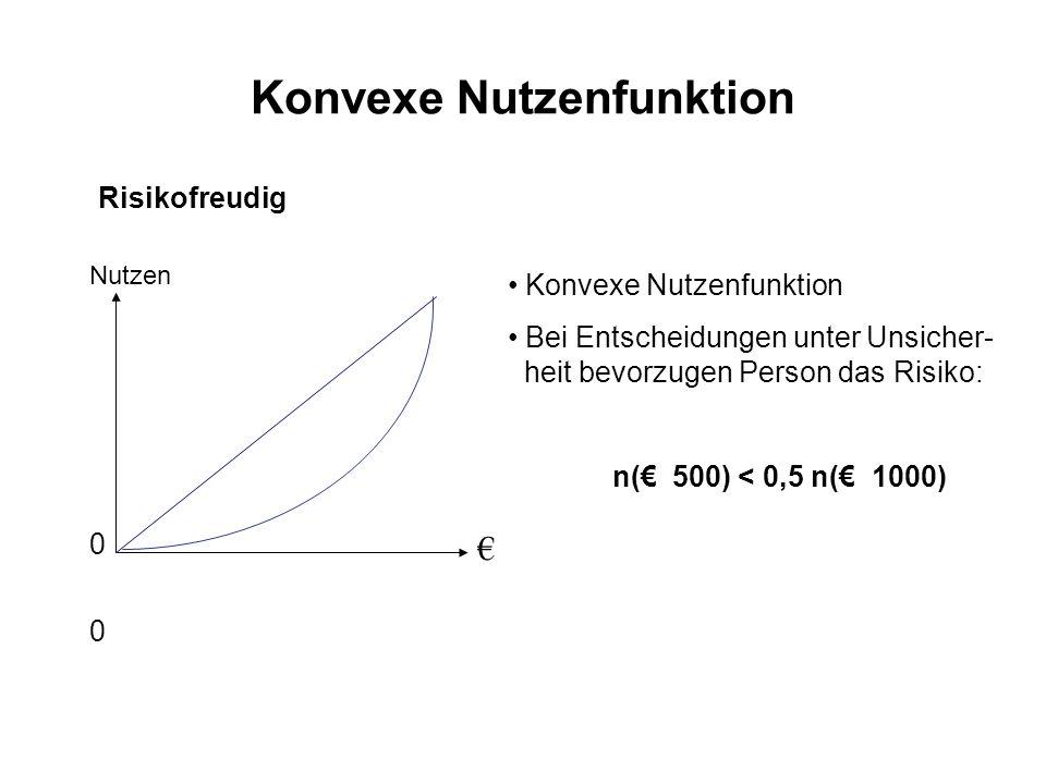 Konvexe Nutzenfunktion Risikofreudig 0 00 0 Nutzen Konvexe Nutzenfunktion Bei Entscheidungen unter Unsicher- heit bevorzugen Person das Risiko: n( 500