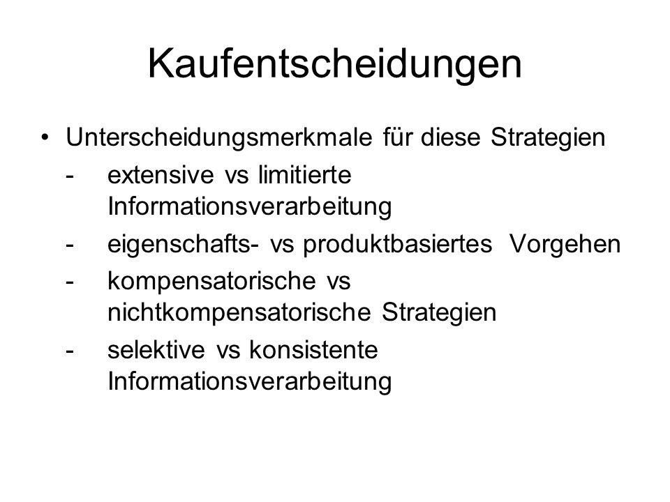Kaufentscheidungen Unterscheidungsmerkmale für diese Strategien -extensive vs limitierte Informationsverarbeitung -eigenschafts- vs produktbasiertes V