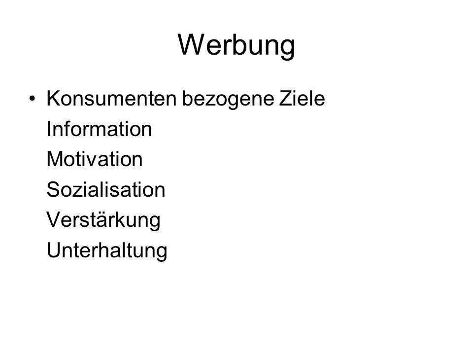 Werbung Konsumenten bezogene Ziele Information Motivation Sozialisation Verstärkung Unterhaltung